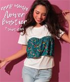 ヴィンテージフラワービスチェデザインTシャツ