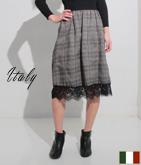 ITALY チェック裾レース切替フレアースカート