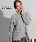ITALY  ドロップショルダーデザインニットトップス