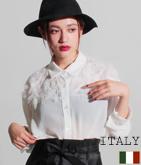 ITALY シフォンフリンジ切替ブラウス