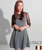 ITALY  メッシュ切替ツイード風ワンピース