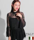 ITALY メッシュ×刺繍フレアースリーブトップス