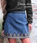 刺繍デニムスカート