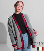 ITALY ラインデザインオーバーコーディガン