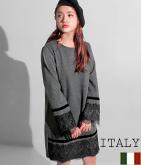 ITALY ベロア×レーストリミングワンピース