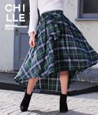 リボン付チェックテールカットスカート