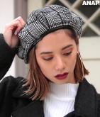 グレンチェックパイピングベレー帽