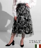 ITALY 花柄チュールレイヤードフレアスカート