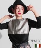 ITALY エコレザー×スウェードタッチトップス