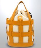 巾着付き格子デザインバッグ
