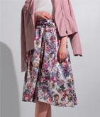 ジャガード風フラワープリントスカート