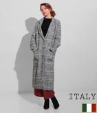 ITALY グレンチェックロングチェスターコート