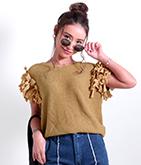 メッシュ編み袖リボントップス