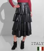ITALY エコレザーティアードロングスカート