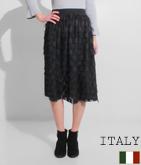 ITALY ドットデザインフリンジスカート