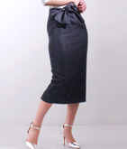 デニムライクツイルリボンタイトスカート