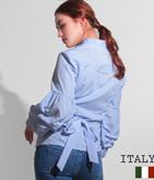 ITALY ストライプカシュクールタックスリーブシャツ