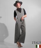 ITALY Vネック2タックワイドパンツオールインワン