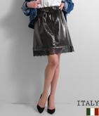 ITALY エナメル加工ベルト付レースヘムスカート