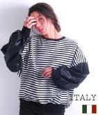 ITALY ボーダー×エコレザーボリュームスリーブトップス