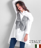 ITALY フロントギンガムチェック&ベルトシャツ