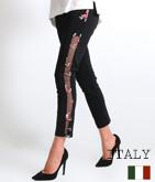 ITALY サイドメッシュ×フラワー刺繍レギンス