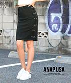 Wレースアップブラックタイトスカート