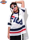 【FILA】ポリエステルメッシュ配色切替えプリントオーバーサイズホッケーTシャツ
