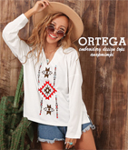 オルテガ刺繍ロングTシャツ