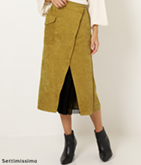 コールテン×チュールレイヤードデザインタイトスカート